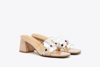 198-2 Pink Polka Dot Mule Clear Block Leather Sandals