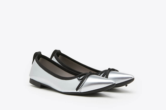 2882-1 Silver Metallic Leather Pointy Flats