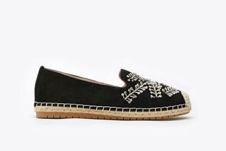 6338-2 Black Diamante Embellished Leather Espadrilles