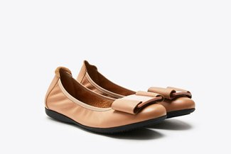 8028-1A Almond Buckled Bow Leather Flats