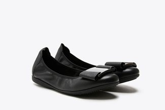 8028-1A Black Buckled Bow Leather Flats