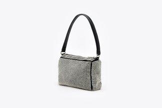 9423 Silver Diamante Embellished Long Handle Handbag