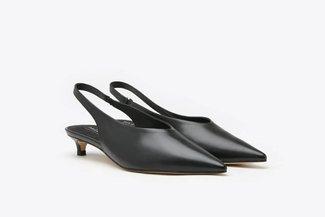 9928-9 Black V-Cut High Vamp Slingback Kitten Heel Leather Pumps