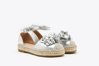 BB1582-25 Silver Kids Floral Crystal Toe Cap Leather Espadrille Sandals