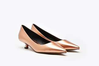 LT233-23 Champagne Classic Pointy Leather Toe Pump Heels