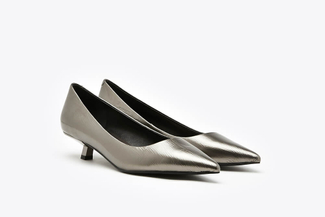 LT233-23 Pewter Classic Pointy Leather Toe Pump Heels