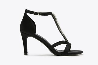 P001-12 Black Rhinestone Embellished Satin Sandals Heels