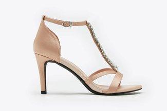 P001-12 Champagne Rhinestone Embellished Satin Sandals Heels