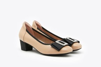 146-69 Almond Crystal Buckle Bow Leather Square Toe Block Heels