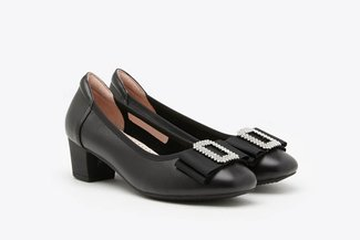 146-69 Black Crystal Buckle Bow Leather Square Toe Block Heel