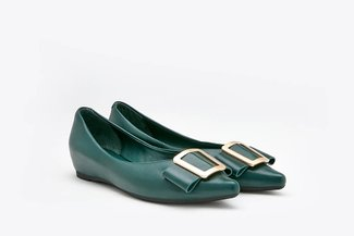 1819-2A Green Trapezium Buckle Leather Pointy Flats