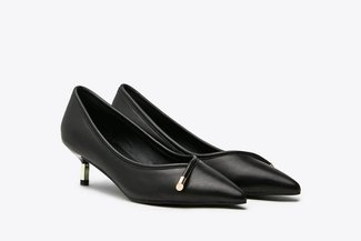 1901-2 Black Metallic Tip Low Court Leather Heel