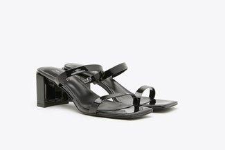 1933-1 Black Glossy Square Toe Slide Sandals
