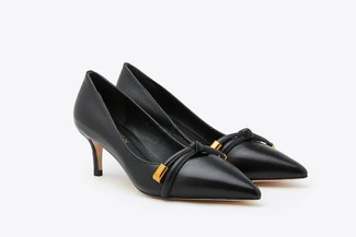 2099-6 Black Gold Tipped Bow Pointy Leather Court Heels