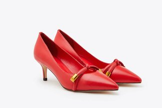 2099-6 Red Gold Tipped Bow Pointy Leather Court Heels