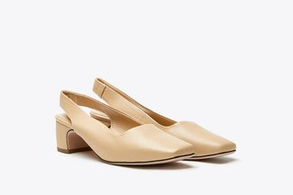 316-2 Almond Square Toe Open Back Low Heel Leather Sandals