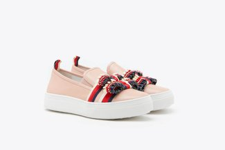 318-221 Pink Ruffle Bow Leather Slip-On Sneakers