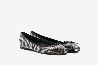 366-18 Black Diamante Ballerina Ribbon Flats