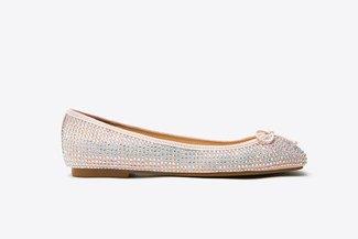 366-18 Pink Diamante Ballerina Ribbon Flats