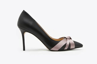 6008-8 Black Gradient Knotted Leather Pointy High Heels