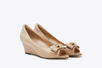 6833-1 Almond Ribbon Peep Toe Patent Wedges