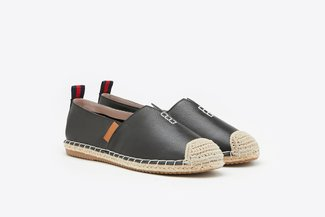 732-31 Black Stitched Leather Espadrilles