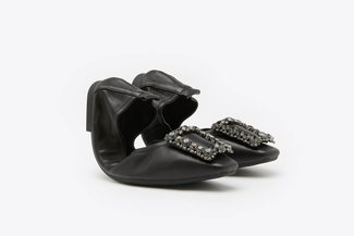 733-10A Black Crystal Buckle Embellished Foldable Flats
