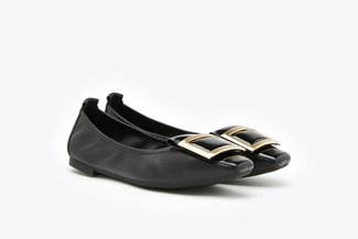 733-13 Black Wide Buckle Glossy Patent Leather Flats