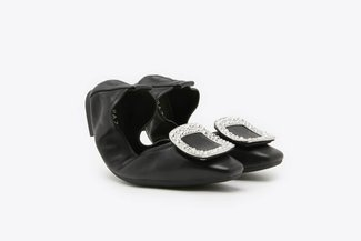 733-2 Black Crystal Buckle Leather Foldable Flats