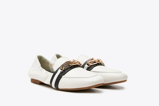 901-2 Beige Nautical Chain Leather Loafers