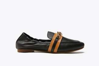 901-2 Black Nautical Chain Leather Loafers