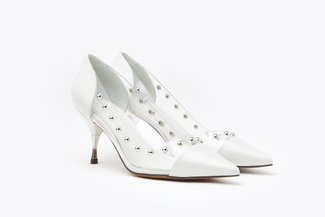 LT8208-7A  Light Grey Pointy Toe Studded Clear Leather Heels