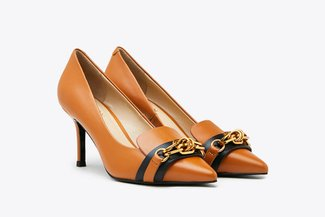 LT828-55 Camel Gold Chain Leather Heels