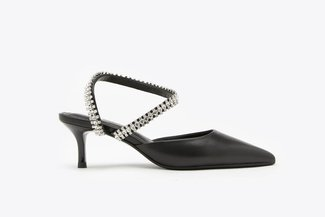 LT8399-31 Black Crystal Embellished Jewel Strap Pointy Mid Heels