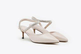 LT8399-31 Pink Crystal Embellished Jewel Strap Pointy Mid Heels