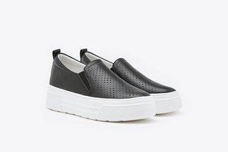 155-26 Black Slip Leather Wedge Sneakers