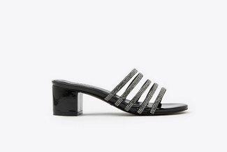 8533-4 Black Diamante Embellished  Sandals