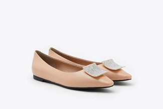 8728-66 Pink Square Ornament Pointy Toe Leather Flats