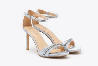 8907-1 Grey Crystal Embellished Ankle Strap Satin Sandal Heels