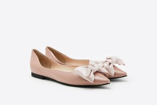 6001-31 Pink Pointy Toe Leather Bow Flats