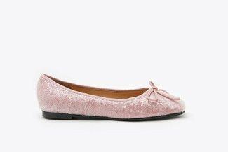 1338-25 Pink Sequin Ribbon Ballerina Flats