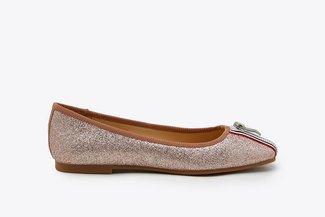 1718-51 Champagne Stripy  Zipper Glittered Leather Flats