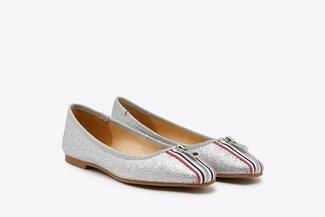 1718-51 Silver Stripy  Zipper Glittered Leather Flats