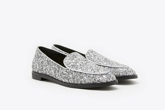 232B-10 Silver Glitter Covered Loafers