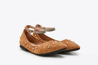 3038-3 Almond Crystal Embellished Ankle Strap Flats