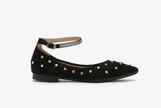 3038-3 Black Crystal Embellished Ankle Strap Flats