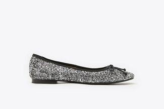3680-9 Silver Crystal Embellished Glitter Square Toe Ballet Flats