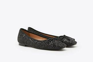 3680-9 Black Crystal Embellished Glitter Square Toe Ballet Flats