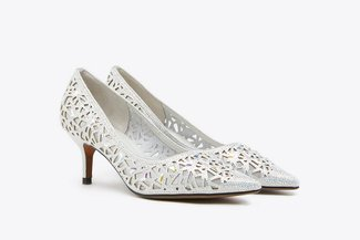 5619-12 Silver Crystal Embellished Pointy Leather  Heels