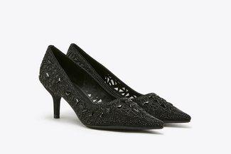 5619-12 Black Crystal Embellished Pointy Leather  Heels
